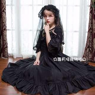 【蘿莉塔雜物坊】織錦園 維多利亞 宮廷 復古 歌德 歐式 優雅 古董娃娃 連身裙 薄紗 夏日 公主 暗黑 日系