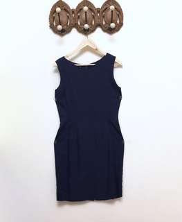 🚚 Michel Rene 深藍色合身洋裝