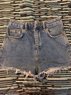 TOPSHOP Blue Moto Mom Shorts (Size: 2US)