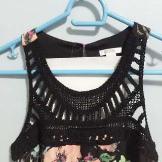 EXHILARATION Black Floral Print Dress