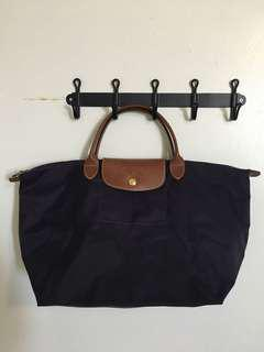 Longchamp purple medium LePliage with short handle