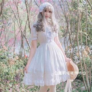 【蘿莉塔雜物坊】織錦園 原創 軟妹 花嫁 歌德 復古 天使之約 日常 修身 高貴 優雅 神秘 薄紗 新娘 蘿莉塔 連身裙