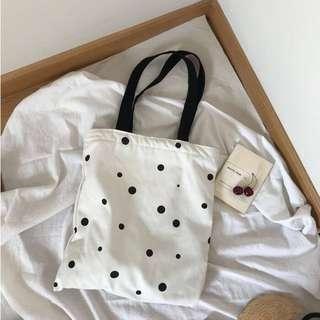 ❤️實拍🇰🇷韓國chic黑白波點帆布袋