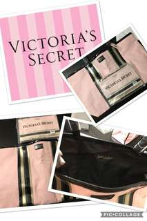 New Victoria Secret large pink and black tote
