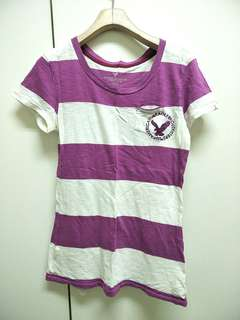 🚚 Abercrombie & Fitch 紫白條紋T-shirt 紫色白色T恤