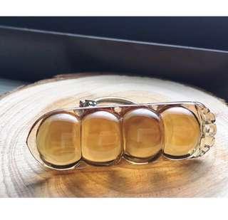 💝出清優惠價~天然✨威士忌黃水晶福豆(四季平安豆) 墜飾(無鍊)