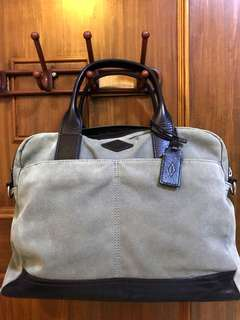 FOSSIL WYATT WORKBAG CANVAS & LEATHER LAPTOP BRIEF BAG TAS LAPTOP
