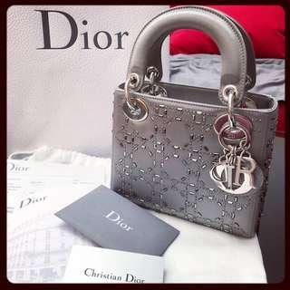 Lady Dior bags 閃鑽 mini 包包 手袋 灰色