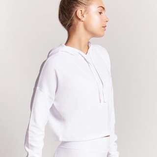 Forever 21 active white crop hoodie