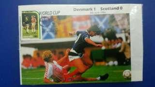 1986年世界杯足球賽丹麥勝蘇格蘭1比0 ,郵票蓋有足球印,直得真藏