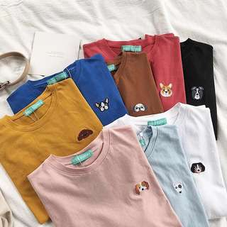 [PO] dog breeds coloured embroi tee