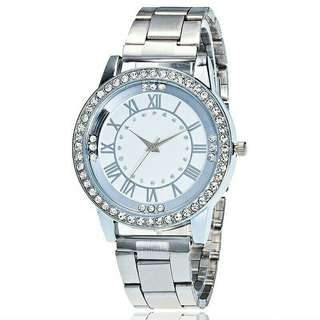 Women bling silver watch