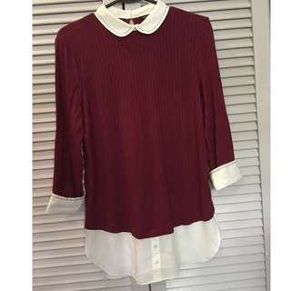 Korean Style Collared Long Sleeve Top