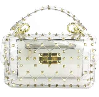 Jelly Transparent Flap Bag with Studs