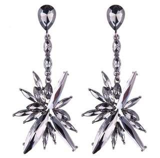 Star Shape Silver Colored Rhinestone Earring