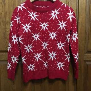 🚚 紅色雪花毛衣