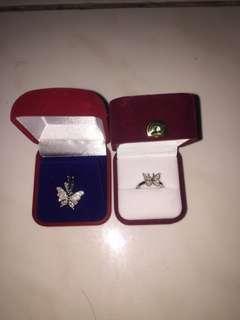 Liontin dan cincin butterfly