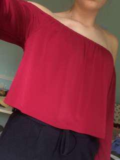 Forever 21 Red off the shoulder long sleeve top