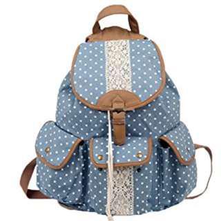 Sky Blue Polka Dot Lace Panel 4 Pocket Backpack