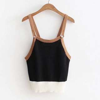 Duo strap play short knitted top