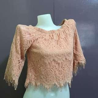 Lace peach off-shoulder top