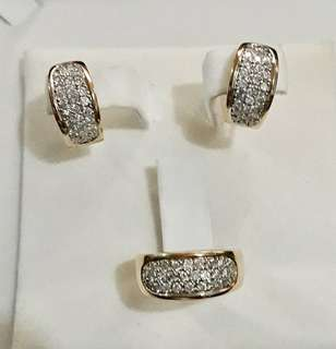 HK Settings Earrings and Ring Set with Real Diamonds