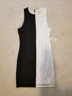 Black and white block straight line dress