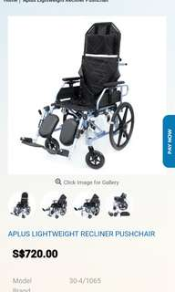 Reclining wheelchair with 10 months remaining warranty