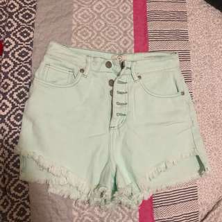high waisted mint green pastel shorts
