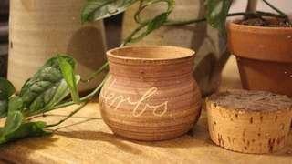 handmade ceramic HERBS jar