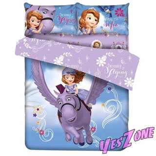 Yes Zone 卡通精品 小公主蘇菲亞DISNEY迪士尼蘇菲亞公主 正版 單人/雙人 三件套床笠純棉被套四件套床單T