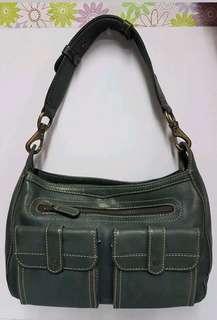 Genuine Leather Blue Green Shoulder Bag