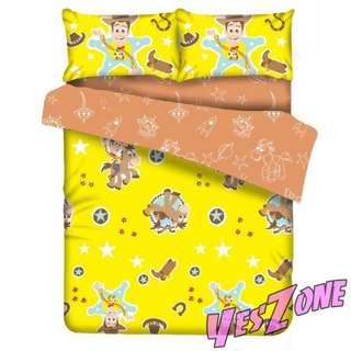 Yes Zone 卡通精品 胡迪DISNEY迪士尼反斗奇兵玩具總動員 正版單人/雙人 三件套床笠純棉被套四件套床單套裝T