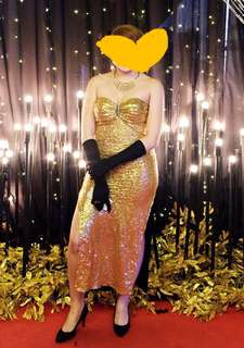 Gold sequins sexy gown (Gloves and other accessories not included)