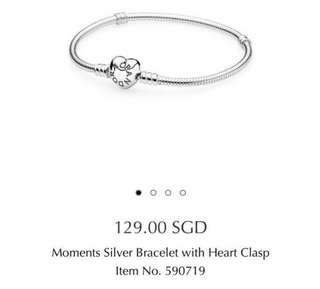 Pandora Moments Bracelet with Heart Clasp