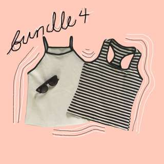 (REPRICED) BUNDLE: Striped Sleeveless & White Halter Top