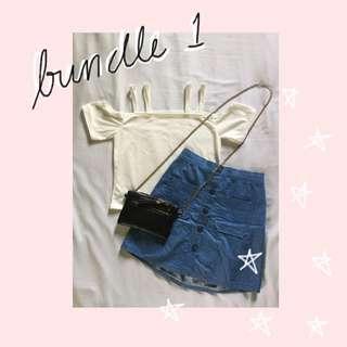 (REPRICED) BUNDLE 1: Denim Skirt & White Off Shoulder