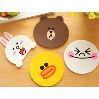 LINE COASTERS 4 in 1 Set Silicone Anti-Slip Coffee Tea Dining Kitchen Tabletop