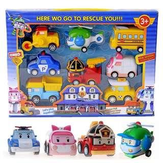 Robocar Poli Pull Back Amber Roy Helly Car Toy Set (8 in 1)