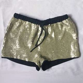 H&M Black and Silver Sequin Shorts