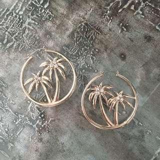 Forever 21 Gold Palm Tree Hoop Earrings