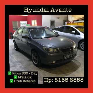 Hyundai Avante - Grab Car Rental, Uber welcomed