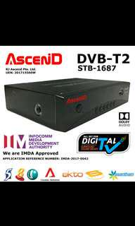 🚚 Ascend DVB T2 Set Top Box (STB-1687) - Designed for Singapore Mediacorp Channels