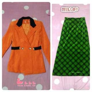 🚚 👗近全新 橘色格子外套 綠色格子長裙 裙子 冬天套裝