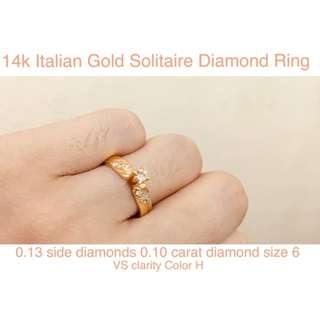 0.23 carat Diamond engagement ring yellow gold