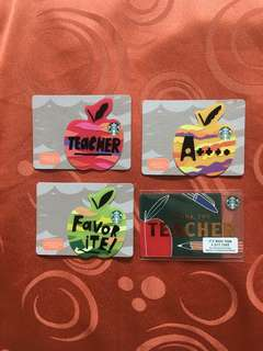 🇺🇸 Starbucks USA Gift Card Apple Teacher Die Cut Cards