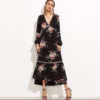 Floral Maxi Dress V Neck Long Sleeve