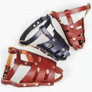 Dog big breed mouth cover leather