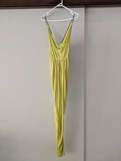 BARDOT lime green cowl neck, low back maxi