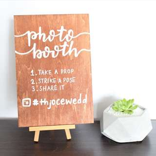 Wood Photo Booth Sign - customized WEDDING